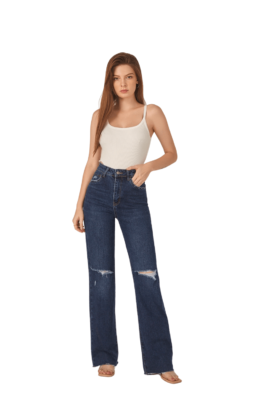 HIGHWAISTED WIDE LEG RIPPED JEANS