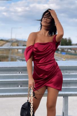 DRESS SATEN BURGUNDY