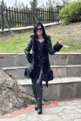 LEATHER COAT WITH FUR BLACK